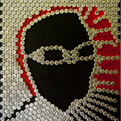 Ray Charles. Bottle Cap  Art. Size: 75 x 100 cm. Created 2010.