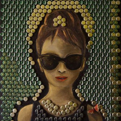 Audrey. Bottle Cap  Art. Size: 75 x 100 cm. Created 2013