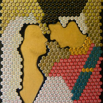 Kate & Will. Bottle Cap Art. Size: 75 x 100 cm. Created 2012.