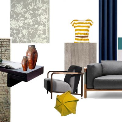Mood board with some Modernism classics in greys and blues and splash of yellow.