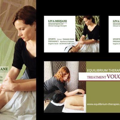 Promotional tri fold brochure, business card and a voucher for www.equilibrium-therapies.com.